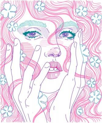 Papiers peints Vector visage de belle fille visage gros plan avec les cheveux roses et délicates fleurs en coiffure, tient les mains pour le visage