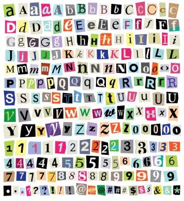 Papiers peints Vectorielle Ransom Letters note de papier-Cut, chiffres, symboles
