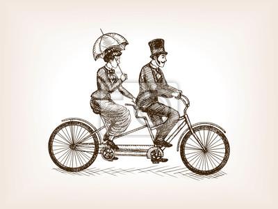 Vendange, dame, gentleman, vélo, croquis, vecteur