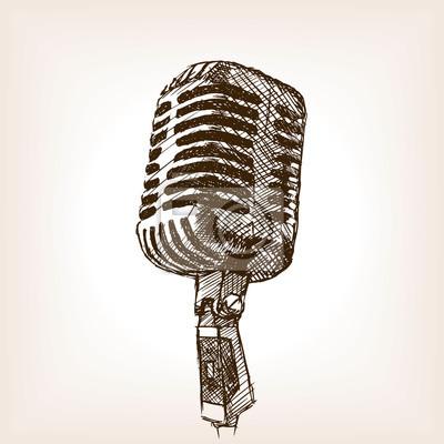 Vendange, microphone, main, dessiné, croquis, style, vecteur