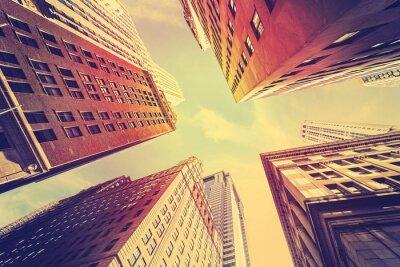 Papiers peints Vendange, tonique, gratte-ciel, Manhattan, Coucher soleil, NYC