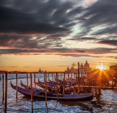 Papiers peints Venise, gondoles, coloré, Coucher soleil, Italie