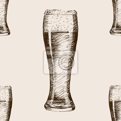 Verre, bière, croquis, modèle, seamless, modèle, vecteur