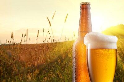 Papiers peints Verre de bière et une bouteille contre un champ de blé et le coucher du soleil
