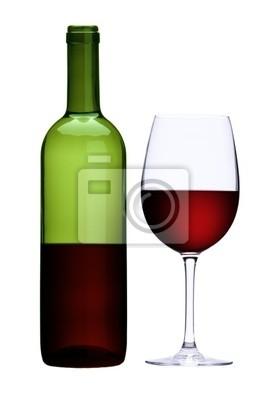 Papiers peints Verre de vin rouge et une bouteille de vin rouge