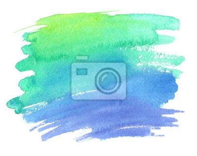 Vert Bleu Gradient Couleur Tache Peint Aquarelle Blanc