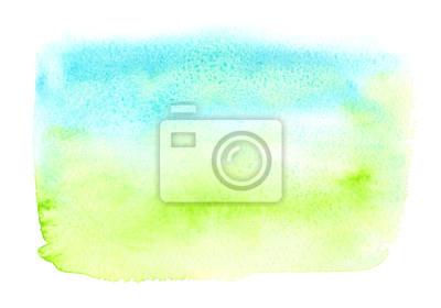 Vert Turquoise Bleu Rectangle Peint Aquarelle Blanc Isole