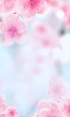 Papiers peints vertical Japanese Spring Sakura cherry blossoms 240x400 size website fat skyscraper banner background. 3D Illustration Clip-Art floral spring petal design header. copy space in pink, white, blue