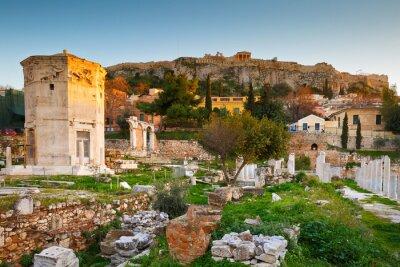 Papiers peints Vestiges de l'Agora romaine et de l'Acropole à Athènes, Grèce.