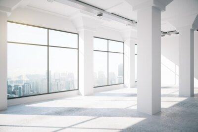 Papiers peints Vide, blanc, loft, intérieur, grand, fenetres, 3D, render