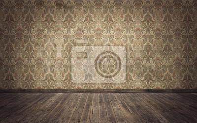 Papiers peints Vide vieux fond de salle vintage. Rendu 3d
