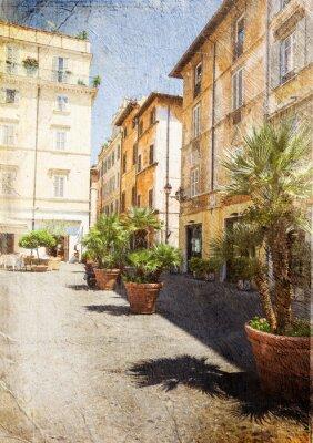Papiers peints vieille rue de Rome. Italie. Image dans le style rétro artistique.