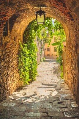 Papiers peints Vieilles rues de verdure une ville médiévale toscane.