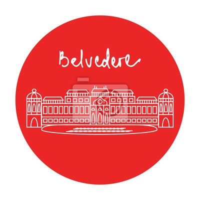 Vienna Belvedere Palace Museum complex vector icon
