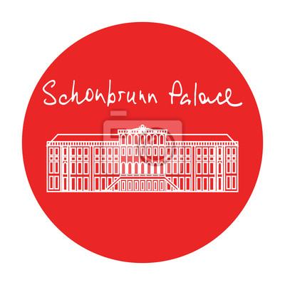Vienne Château de Schonbrunn vecteur cercle rouge icône dans le style linéaire