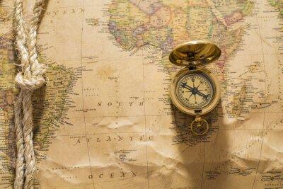 Papiers peints Vieux, boussole, corde, vendange, carte