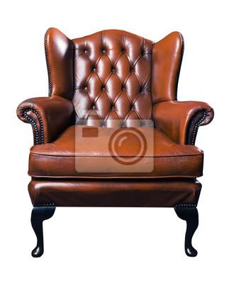 vieux fauteuil en cuir sur un fond blanc