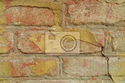 Vieux, jaune, peinture, brique, mur
