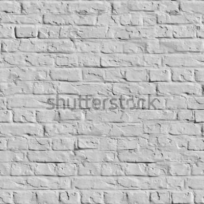 Papiers peints Vieux mur de briques blanches. Texture mosaïque sans soudure.