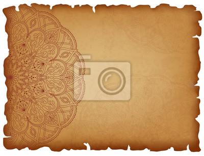 Vieux Papier Fond Mandala Fond Horizontal Avec Motif Oriental