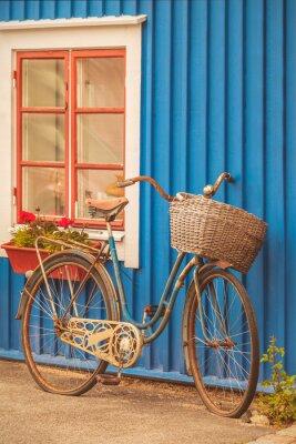 Papiers peints Vieux, rouillé, dame, bicyclette, devant, suédois, maison