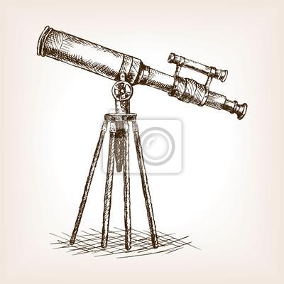 Vieux, télescope, main, dessiné, croquis, vecteur
