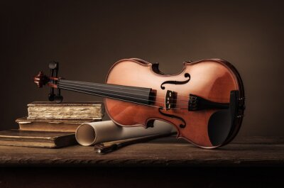 Papiers peints Vieux, violon, encore, vie, LIVRES