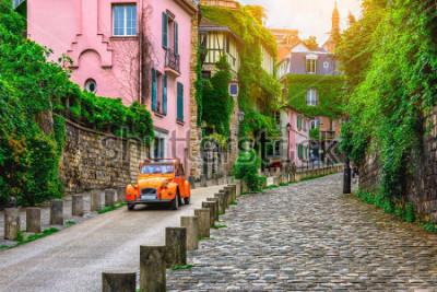 Papiers peints View of old street in quarter Montmartre in Paris, France. Cozy cityscape of Paris. Architecture and landmarks of Paris.