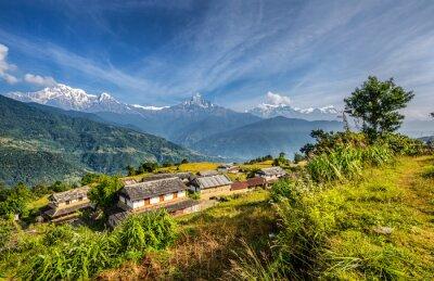 Papiers peints Village dans les montagnes de l'Himalaya au Népal