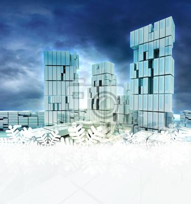 ville d'affaires au coucher du soleil la lumière du jour avec flocon de neige cadre