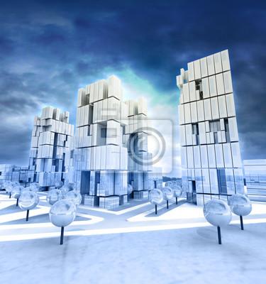 Ville d'affaires moderne à l'après-midi le ciel nuageux