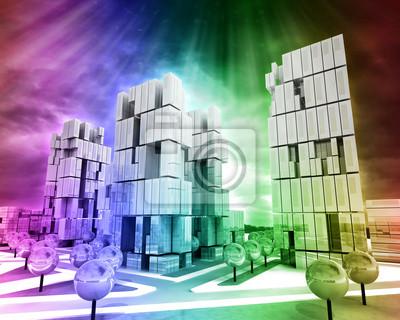 Ville d'affaires moderne arc-en-fond coloré