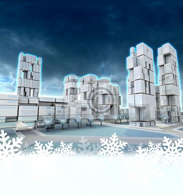 Ville de gratte-ciel futuriste au coucher du soleil en hiver cadre de flocon de neige