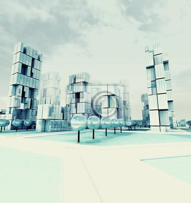 Ville de gratte-ciel glacé au jour d'hiver