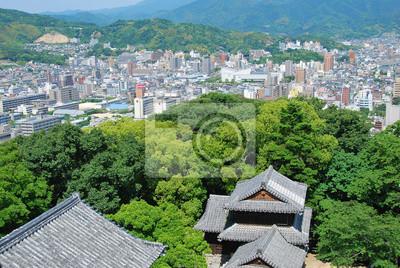 Papiers peints Ville de Matsuyama ET remparts du Château, Shikoku, Japon