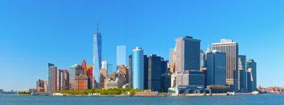 Papiers peints Ville de New York bâtiments de district de la rue de paroi inférieure financière Manhattan sur une belle journée d'été avec un ciel bleu
