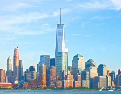 Papiers peints Ville de New York Lower Manhattan bâtiments du district financier de Wall Street sur une belle journée d'été avec un ciel bleu