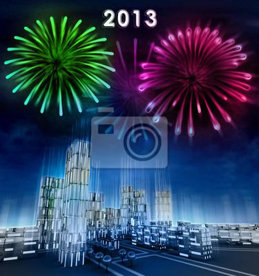 Ville futuriste d'affaires et 2013 célébration du nouvel an
