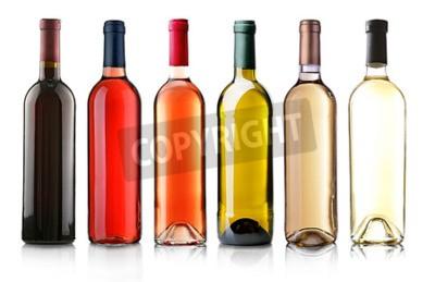 Papiers peints Vin, bouteilles, rang, isolé, blanc