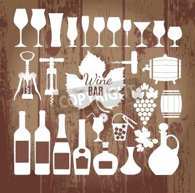 Papiers peints Vin, icônes, conception, ensemble Illustration vectorielle libre de droits.