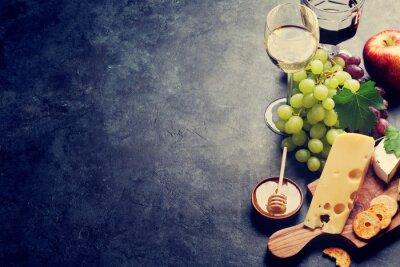 Papiers peints Vin, raisin, fromage et miel