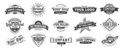 Papiers peints Vintage badge. Retro brand name logo badges, company label and hipster frame vector illustration set