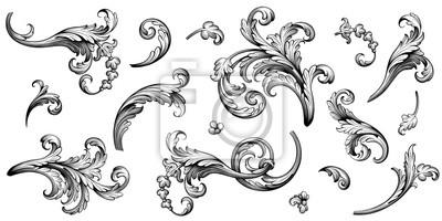 Papiers peints Vintage Baroque Victorian frame border flower pattern vector floral engraved scroll ornament leaf retro decorative design tattoo black and white filigree calligraphic heraldic shield swirl