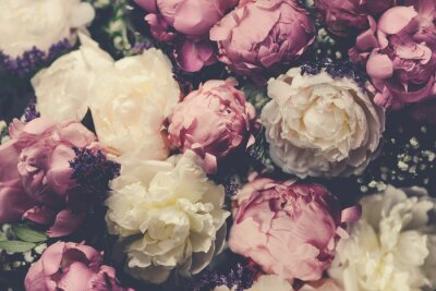 Papiers peints Vintage bouquet of pink and white peonies. Floristic decoration. Floral background. Baroque old fashiones style image. Natural flowers pattern wallpaper or greeting card
