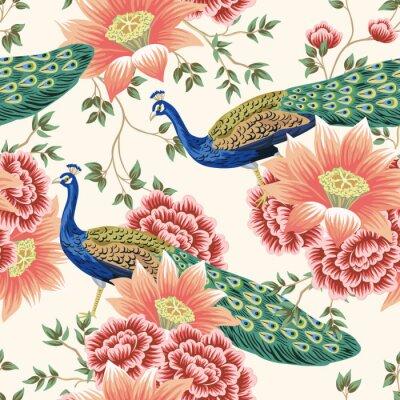 Papiers peints Vintage Chinese flower lotus rose, leaves, peacock bird seamless border pink background. Exotic oriental wallpaper.