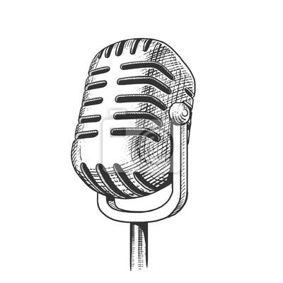 Vintage, microphone, main, dessiné, gravure, vecteur