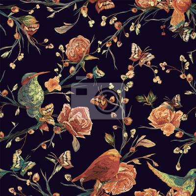 Vintage Modele Sans Couture Oiseau Papillon Et Fleur Feuille