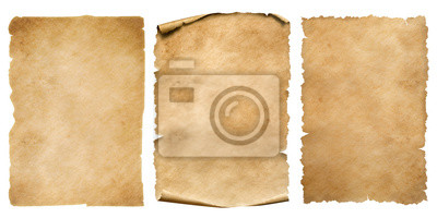 Papiers peints Vintage paper or parchment sheets set isolated on white