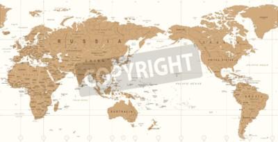 Papiers peints Vintage political world map pacific centered vector icon.