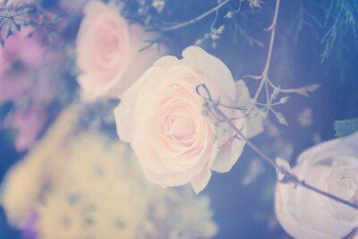 Papiers peints Vintage rose bouquet de fleurs fond doux